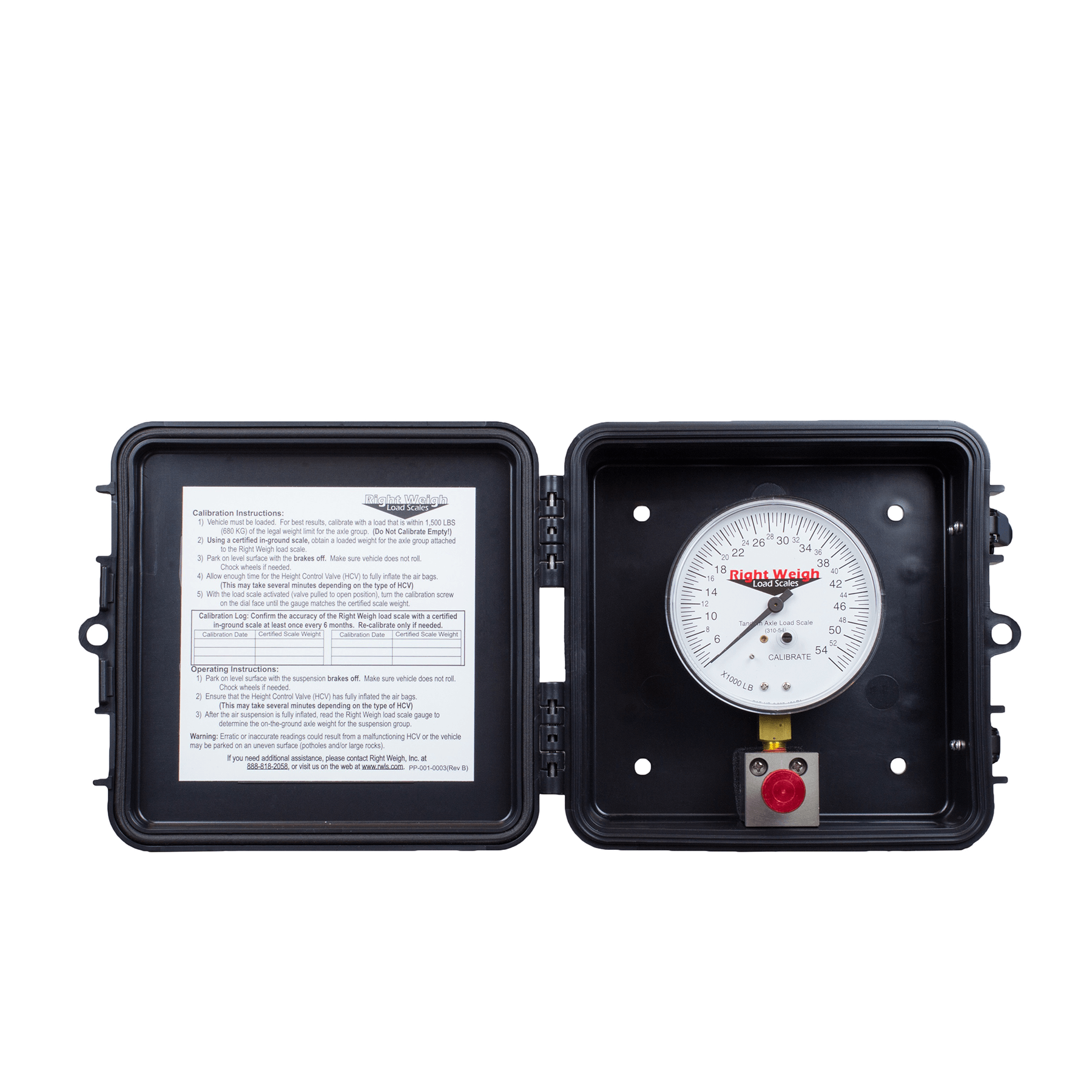 Right Weigh 250-54-FF TANDEM Axle Load Scale for Single HCV Air Suspensions